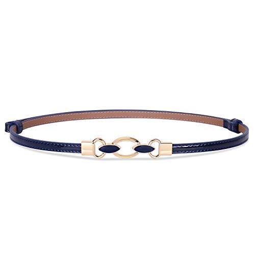 Women Vintage Skinny Leather Belt for Dress/Blouse, Adjustable Waistband fit 23-40inch (02 Blue)