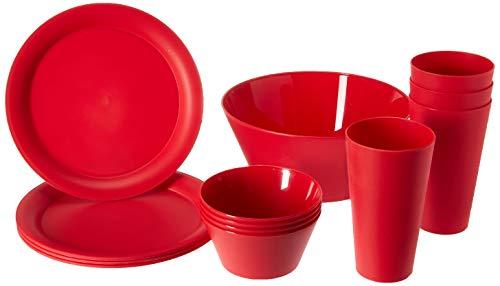 CreativeWare CH623CHRY, Cherry 13 Piece My First Dorm/Apartment Plastic Dish Set (Set Dinner Safe Microwave)