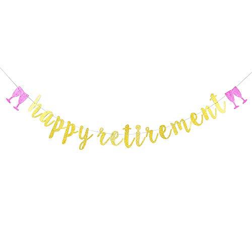 Gold Glitter Happy Retirement Banner - Retirement Party Decorations/Retirement Banner/Happy Retirement -