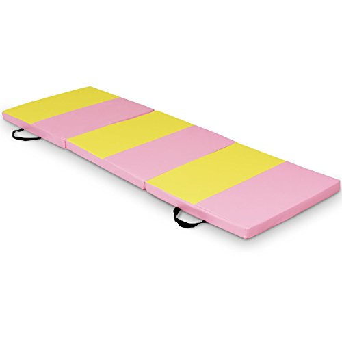 Exercise Tri-Fold Gymnastics Mat 6'x2′ Folding Fitness Carry Handles Pink&Yellow with Ebook