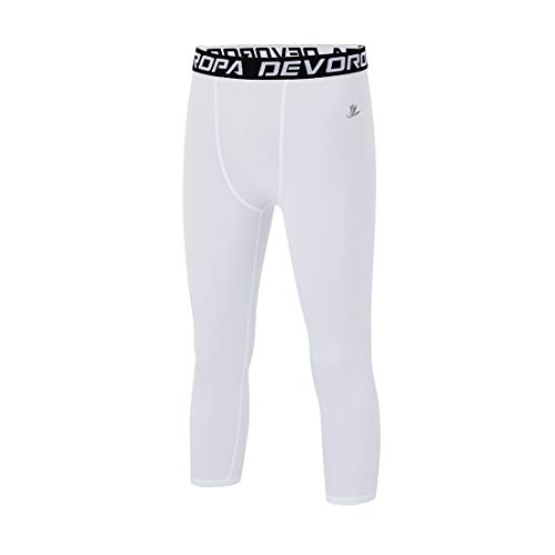 Devoropa Youth Boys Compression Pants 3/4 Length Sports Tights Leggings Soccer Basketball Base Layer White M