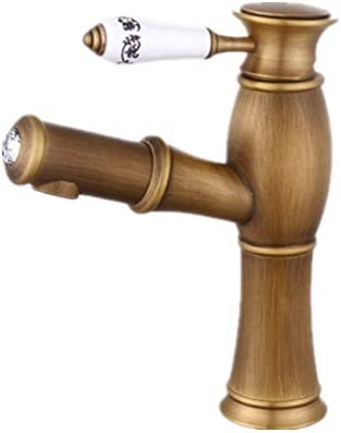 キッチン水栓 高級プルダウンスプレーヤー真鍮流域水栓シングルハンドル全銅アンティーク盆地蛇口浴室ホットとコールドの単一穴レトロな蛇口銅インストールが簡単 キッチンとバスルームに適しています (Color : Brass, Size : FREE SIZE)