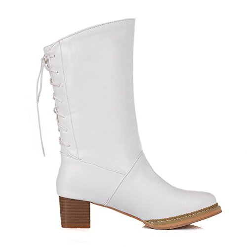 AgooLar Women's Lace-up Low-Heels PU Solid Low-Top Boots White KKRY9tQch8