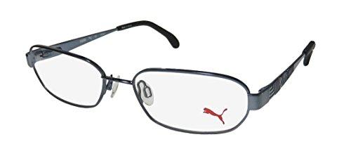 Puma 15421 Mens/Womens Designer Full-rim Flexible Hinges Eyeglasses/Eyeglass Frame (52-17-135, Dirty Blue / - Metal Frames Flexible Eyeglass