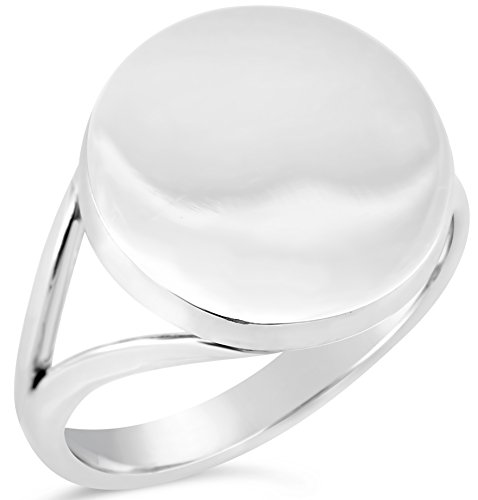 Engravable Collection Sterling Silver Round V Band Ring Size 11, Includes Product Care Bundle