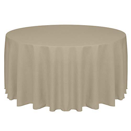 Ultimate Textile Faux Burlap - Havana 90-Inch Round Tablecloth - Basket Weave, Natural ()