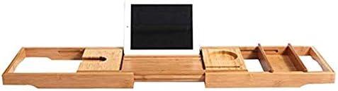 ホームホテルバスタブトレーバースキャディ入浴トレイシャワーボード竹バスタブフレームバスルームバスリトラクタブル防水浴室ラック携帯電話ラック120.5 * 23センチメートル (Color : Natural)