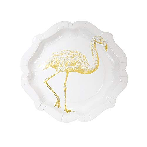 12 Pack Talking Tables Party Porcelain Curiosities 8 inch Gold Foil Disposable Plates for a Birthday Party 12 count Gold//White PPC-PLATE-MED
