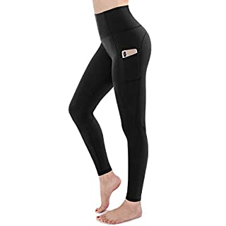 STYLEWORD Womens Yoga Pants with Pockets High Waist Workout Leggings Running Pants(Black-018A,XL)