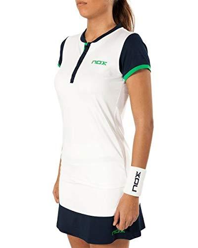 NOX Polo Pro Blanco Azul Logo Verde Mujer: Amazon.es ...