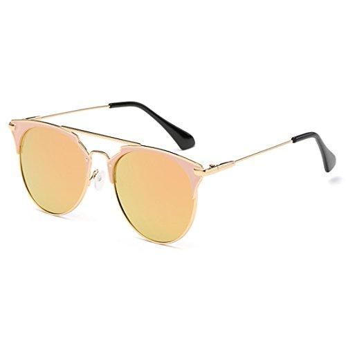 Barbie moda Metal Eye Glasses Gafas afas unisex Vintage Powder de UV 400 Cat Oro Aiweijia Sun de sol axqCBF