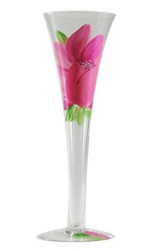 Set of 2 Pink Peony Floral Hand Painted Hollow Stem Toasting Flutes - 16 Ounces ()