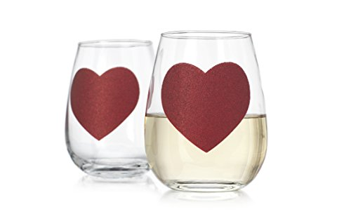 Elegant Home Personalized Gift Set of Two 19 Oz. Red Heart Shape Stemless Wine Glass - Unique Novelty - Gag Gift. (Personalized Hearts Conversation)