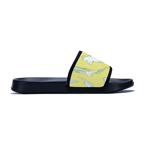 pour Decor Bird Chaussons Black Fhdang leaves Femme xUOAqwS