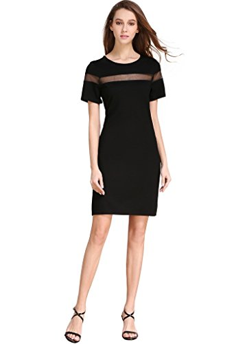 Buenos Ninos Women's Crew Neck Short Sleeve Casual Jersey T-Shirt Dress with Mesh Panel Black ()