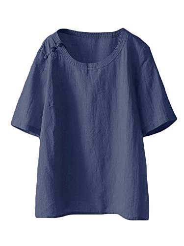 - Mordenmiss Women's Cotton Linen Tops Short Sleeve Retro Chinese Frog Button Blouse Casual Loose T Shirt Navy Blue XL