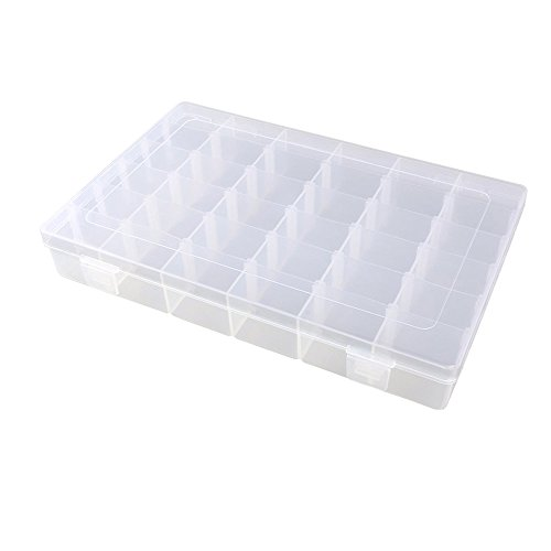 Plastic Beads Necklace Earrings - KLOUD City Jewelry Box Organizer Storage Container with Adjustable Dividers 36 Grids (Clear Plastic)