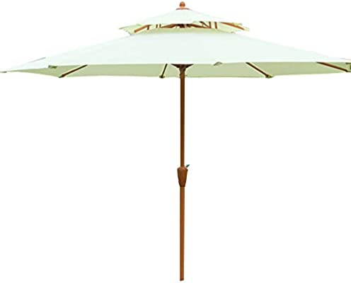 Parasol Grande de Jardín Sombrilla Alto 255 cm Sombrilla de Playa Sombrilla de Madera Protección Solar Exterior Patio Jardín Piscina Cafetería Toldo (Ø 270cm - Rojo): Amazon.es: Jardín