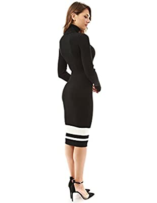 PattyBoutik Women's Turtleneck Ribbed Sweater Dress