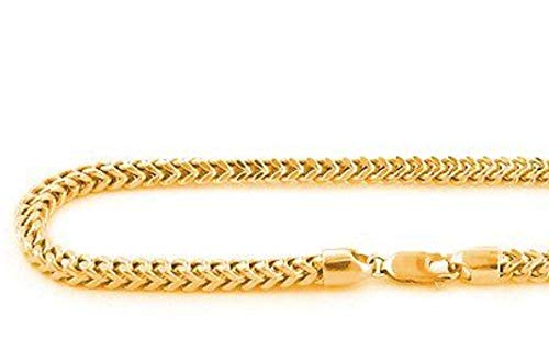 Dubai Collections Franco Chain Necklace 18K Gold 2.5mm Box Jewelry Gift Men Women Charms Solid Lobster Clap Gift 22inch (22)