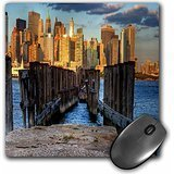 3dRose 8 x 8 x 0.25 Inches Mouse Pad, Pier from Nj to NYC, Skyline, Hudson River (mp_100224_1)
