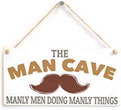 Man Cave Manly Men Doing Manly Things Gift for Man Boys Room Door Wood Sign,Wood Plaque with Quotes,Rustic Wood Sign for Home Decor,Farmhouse Sign