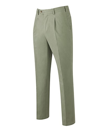 Twill Tailored Pleat Pants Front (Savile Row Men's Khaki Pleat Front Classic Fit Chinos 32