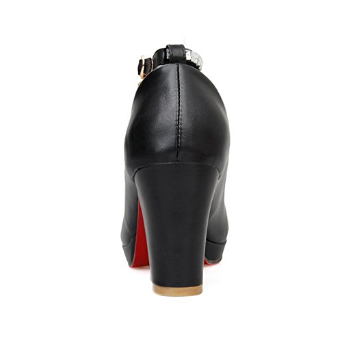 Balamasa Dames Strass Talons Chunky Boucles Métalliques Pompes Uréthane Chaussures Noir