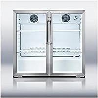 Summit SCR7012D French Door Beverage Refrigerator, Glass/Black