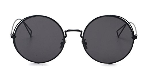 GAMT Ultralight Fashion Oversized Round Sunglasses Full Metal Frame Classic Vintage Eyewear for Men and Women Black Frame Grey - Branded Wholesale Sunglasses