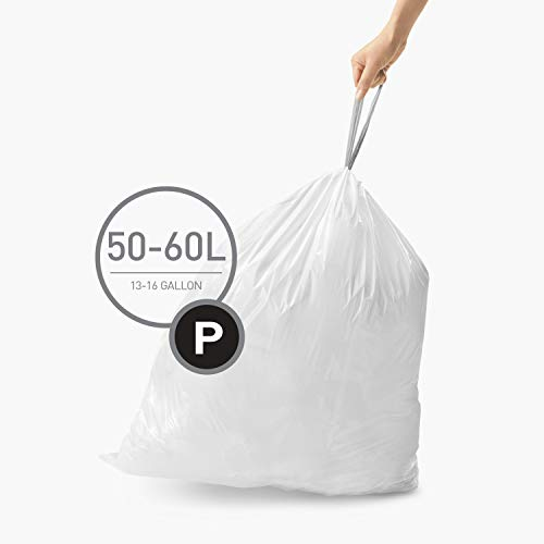 simplehuman Code P Custom Fit Drawstring Trash Bags, 50-60 Liter / 13-16 Gallon, White, 200 Count