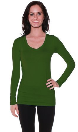 Active Basic Womens Plain Basic Cotton Blend Deep V Neck T Shirt With Long Sleeves Small Olive
