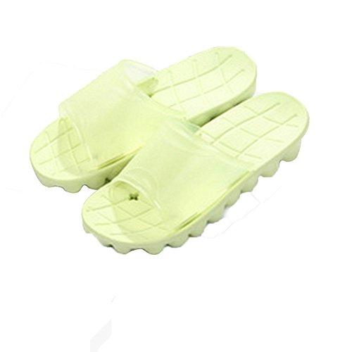 Tellw Summer Fall Zapatillas De Baño De Moda Casa Suelo De Madera Antideslizante Pareja De Baño Zapatillas Mujer Verde