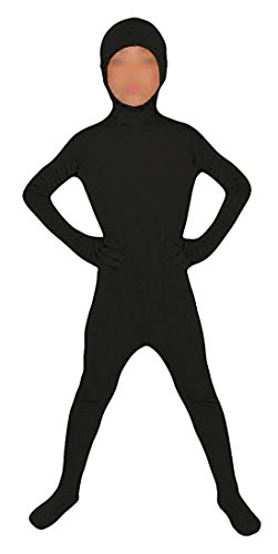 Seeksmile Kids Costume Full Body Lycra Zentai Suit Face Open (Kids Large, Black) ()