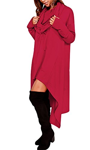 (Women Hi-Low Casual Maxi Shirt Solid Color Pocket Hooded Blouse Tops Burgundy US 16 )