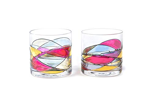 (ANTONI BARCELONA Whiskey & Bourbon Glasses 12Oz SET 2 Sagrada Red Line Hand Painted - Mouth Blown Unique gifts & presents dad birthday spiritual moments stunning and gorgeous colorful on the rocks)