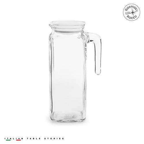 (Bormioli Rocco Glass Frigoverre Jug With Airtight Lid (1 Liter): Clear Pitcher With Hermetic Sealing, Easy Pour Spout & Handle – For Water, Juice, Iced Coffee & Iced Tea)