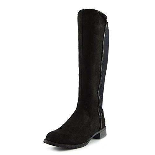 Kick Footwear Frauen Knie Hohe Elastische Stretch Panel Te mittig Getroffenen Bällen Heeld Stiefel Schwarz