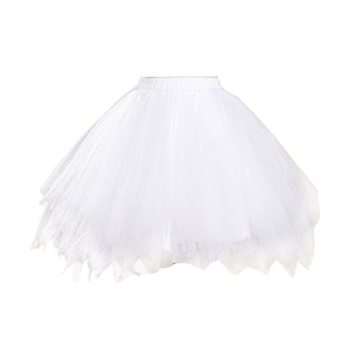 Bridess Women's Short Petticoat Skirt Ballet Bubble Tutu Multi-colored White (Plus Size White Tulle Petticoat)