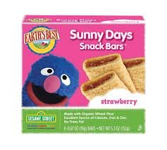 Earths Best Organic Sesame Street Sunny Days Snack Bar - Strawberry, 5.3 Ounce -- 6 per case.