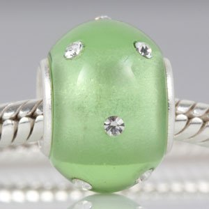 Kera Style Peridot Color Murano Polished Glass Bead with Clear Swarovski Crystal August Birthstone 925 Sterling Silver Solid Core Charm Fits Pandora Chamilia Biagi Troll Beads Europen Style Bracelets