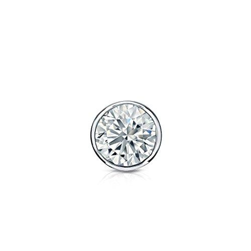 Diamond Wish 14k White Gold Round Single Diamond Stud Earring (1/4cttw, O.White, I2-I3) Bezel-Set, Secure Lock Back