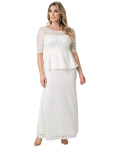 Kiyonna Women's Plus Size Poised Peplum Wedding Gown 0X Ivory
