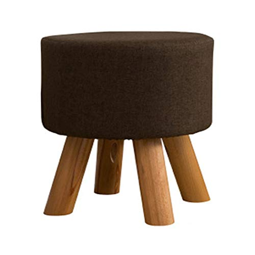 YONGYONG-hammock Detachable Wooden Bench Solid Wood Small Round Stool Change Shoe Bench Fabric Sofa Stool Low Stool Four Foot Stool Creative 404035CM (Color : Brown, Size : 404035CM)