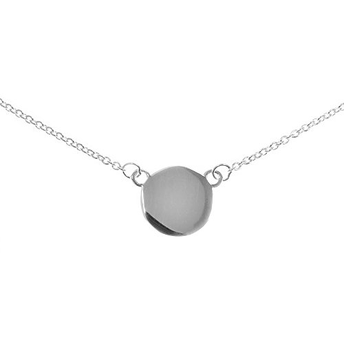 "Beauniq Solid Sterling Silver Rhodium Plated Disc Pendant Necklace, 16""-18"""