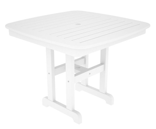 POLYWOOD NCT37WH Nautical Dining Table, 37-Inch, White (Table Dining Polywood)