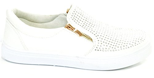 Womens New Ladies Flat Slip On Diamante Plimsoll Pump Shoes Skater Trainers Size