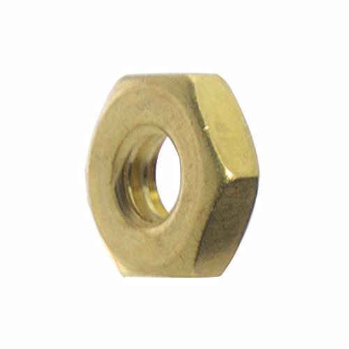 (12-24 Machine Screw Hex Nuts, Solid Brass, Grade 360, Plain Finish, Quantity 50)