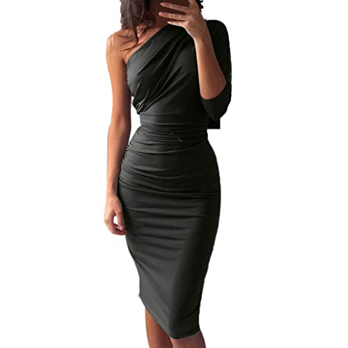 One Shoulder Dress Jersey - Womens One Shoulder Midi Dress Long Sleeve Ruched Sexy Bodycon Party Pencil Dress (Gray, S)