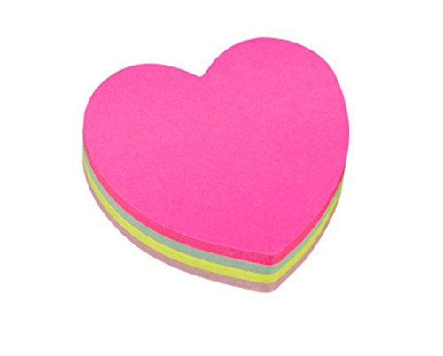 Love Notes Sticky Notes (Rainbow Love Heart-shaped Sticky Note Cube Super Sticky Removable Notes Pad,Set of 2)